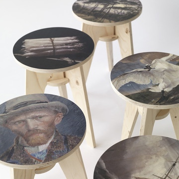 Plywood Print Stool - 5 stools from top